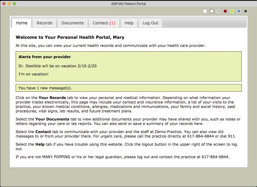Patient portal home page